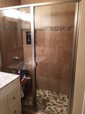 New tile shower in a bathroom