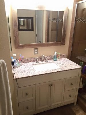 New vanity in a remodeled bathroom