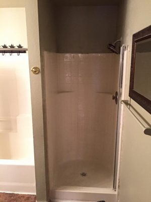 Old shower in bathroom