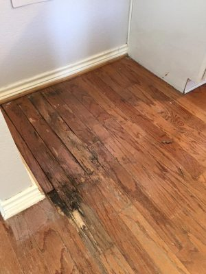 hardwood floor before a remodel
