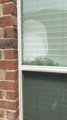 broken window from hail