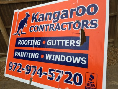 Kangaroo Contractors sign