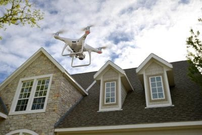 Drone assessing Hail Damage to McKinney, TX Roof