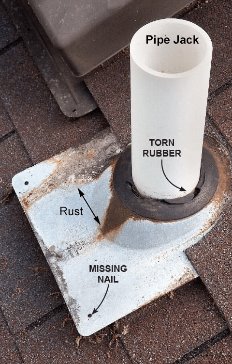 Leaking roof at pipe jack